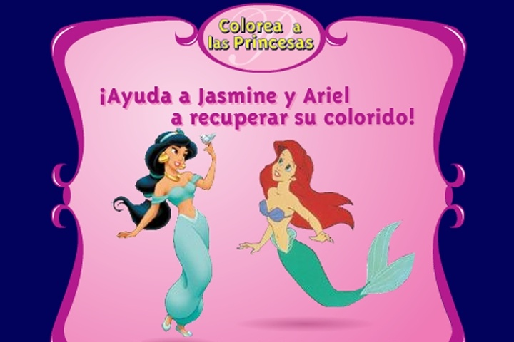 Ariel And Jasmine Coloring Game - Disney games - Games Loon