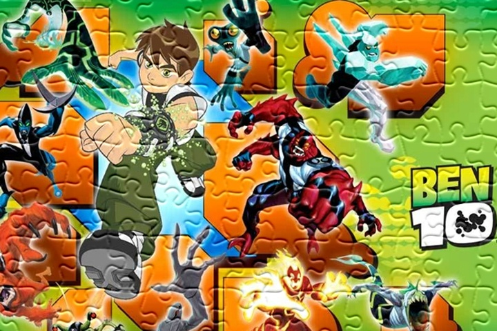 Ben 10 And The Other Heroes Jigsaw Game
