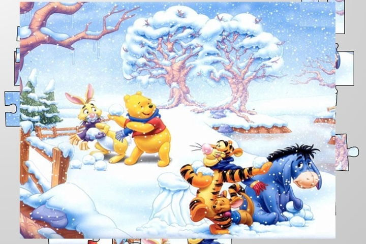 Winnie The Pooh Giochi: Winnie The Pooh Snowball Fight Jigsaw Puzzle Game