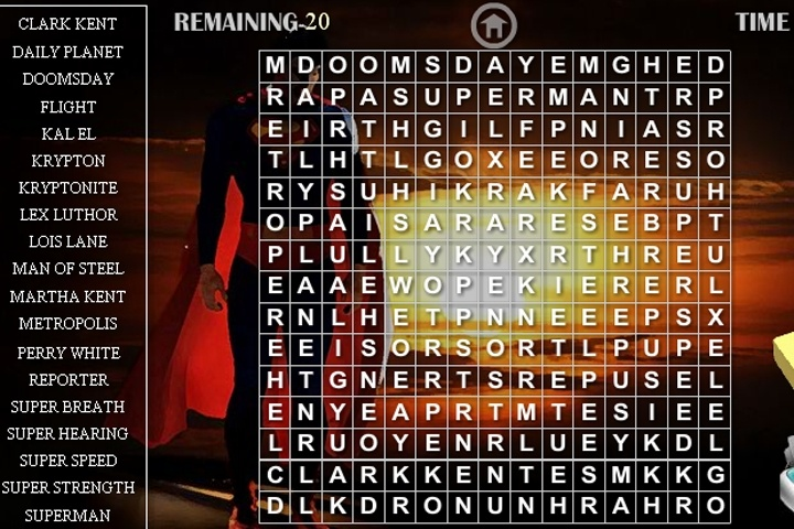 Superman Wordsearch Game