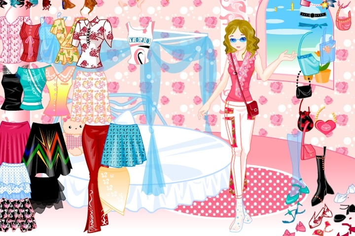Pinky With Bags Dress Up Game