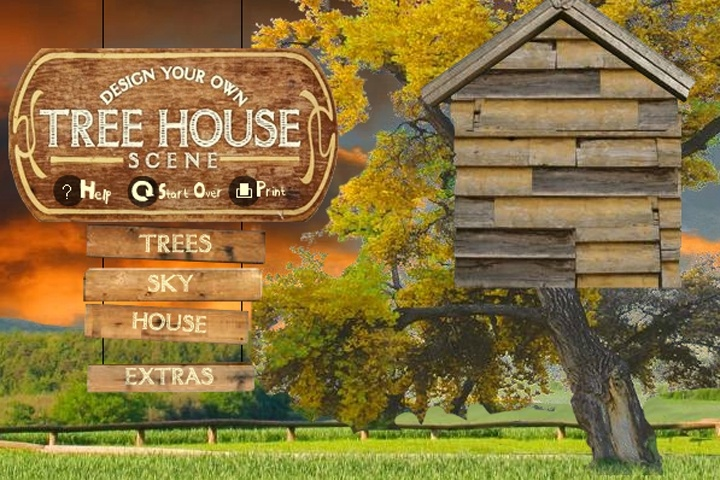 Design your own tree house scene game boys games games loon Decorate your own house games