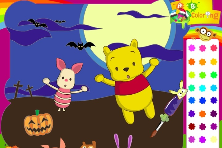 piglet and winnie the pooh halloween coloring game cartoon online game info - Halloween Coloring Online