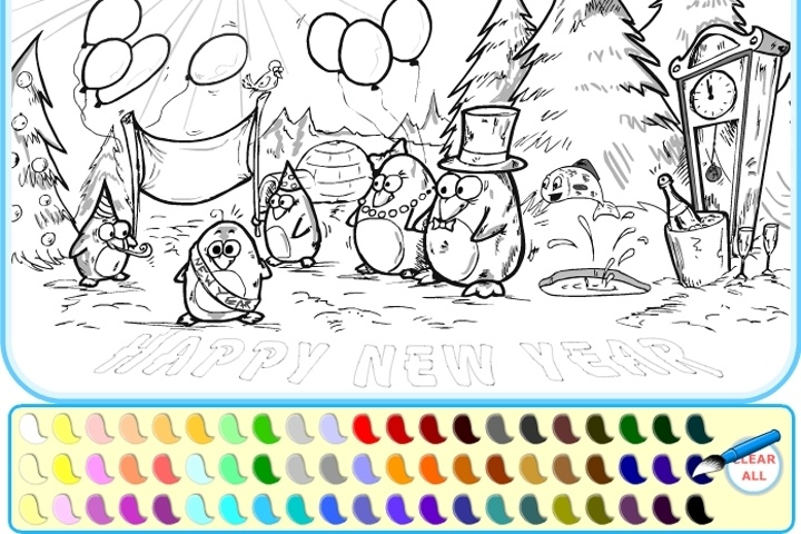 Penguin Happy New Year Coloring Game
