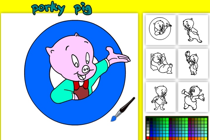 Porky Pig Online Coloring Game - Looney Tunes games - Games Loon