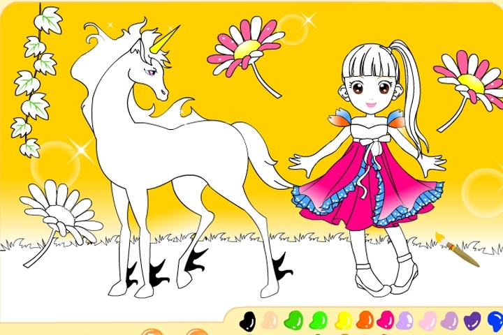 Princess And Her Unicorn Coloring Game - Coloring games - Games Loon