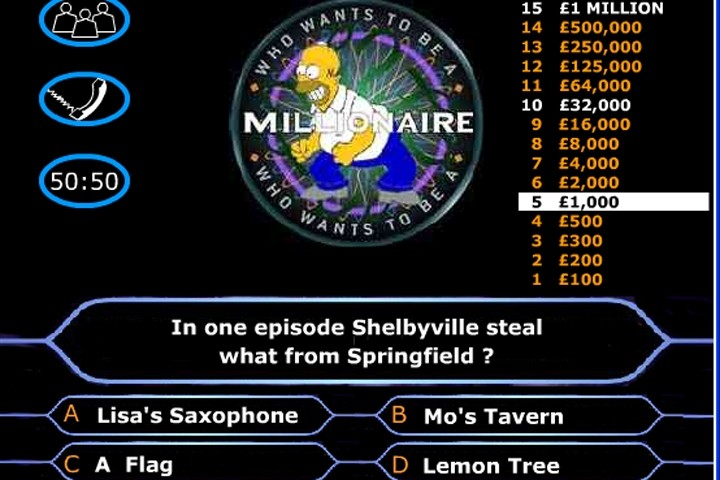 Simpsons Millionaire Quiz Game Play Free Simpsons Games Games Loon