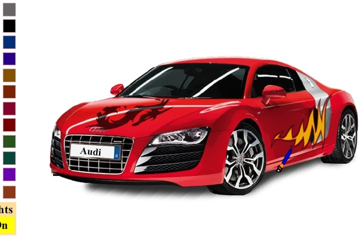 Sports Car Audi R8 V10 Coloring Game Coloring Games