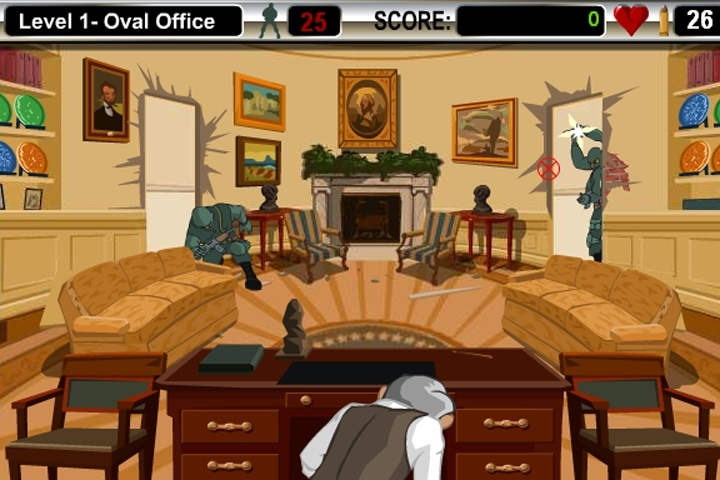 bush shoot out game political games games loon